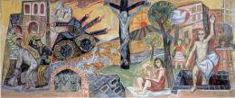 Otto Dix: Krieg und Frieden, 1960. Keimsche Mineralfarben, Technik A (nach Kurt Wehlte) auf Silikatputz; Rathaus Singen (Hohentwiel), Ratssaal. © VG Bild-Kunst Bonn, 2018