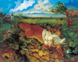 Antonio Ligabue Volpe in fuga (Fliehender Fuchs) Undatiert (1948) Öl auf Holzfaserplatte 60 x 75cm Privatsammlung ©