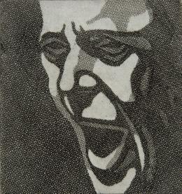 """Florentina Pakosta, """"Schrei"""", 1985, Radierung, Blatt: 39,6 x 23,4 cm, Platte: 16 x 15 cm © Museum der Moderne Salzburg, Foto: Rainer Iglar / Bildrecht, Wien 2020"""