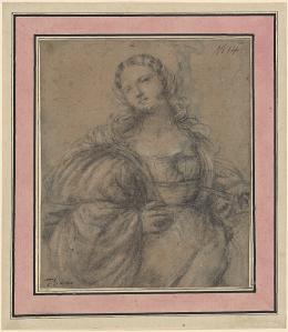 Jacopo Negretti (genannt Palma Vecchio) Lukrezia, um 1526–1528 Schwarze Kreide, weiss gehöht, auf bräunlich- grauem Papier, 8,6 x 15,8 cm Kunsthaus Zürich