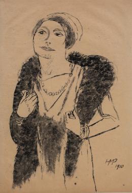 Hermann Max Pechstein, Dame mit Pelzstola (Emy Frisch), 1910,  Nordico Stadtmuseum Linz