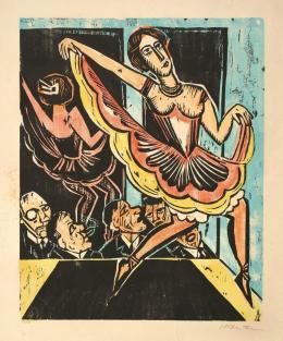 Max Pechstein, Tänzerin im Spiegel, 1923. Farbholzschnitt, 50 x 40 cm; Privatbesitz. Foto: Karen Bartsch, Berlin; © 2019 Pechstein – Hamburg/Tökendorf