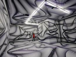 "Peter Kogler, Installationsansicht ""Artists & Robots"", Grand Palais, Paris, 2018,  Foto: Atelier Kogler"