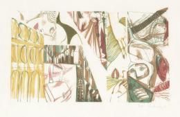 Peter Kubovsky, Ohne Titel, 46 x 69 cm, 4 Farbplatten auf Japanpapier, Linolschnitt, 1969 © Margit Palme