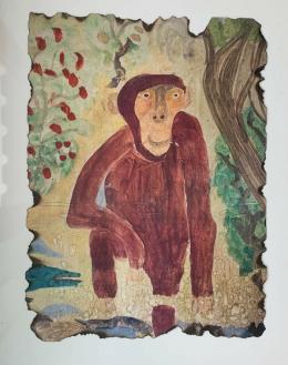 Peter Fischli, Affe, 1962, Aquarell auf Papier Gemalt im Alter von 10 Jahren, Courtesy of the artist © Peter Fischli