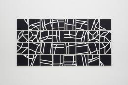 """Roman Pfeffer, """"Swip"""", 2017, Gesso, Acryl auf Leinen, Alu, 32 Tafeln je 32 x 32 cm, insges. 143 x 217 cm © Bildrecht Wien"""