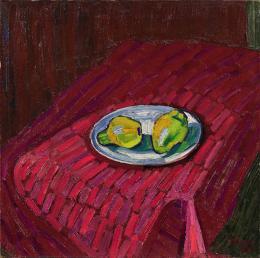 Albert Pfister (1884 –1978), Quitten auf rotem Tuch, 1906, Öl auf Leinwand, 65x65.5cm, Privatbesitz © Yvonne Kunz, Erlenbach