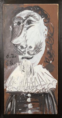 Pablo Picasso (1881 - 1973) Buste de mousquetaire, 1968 Öl auf Holztafel 58 x 28.2 cm QoQa-Community © Succession Picasso / 2019, ProLitteris, Zurich