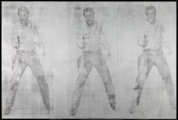 """Andy Warhol, """"Triple Elvis"""", 1963 © The Andy Warhol Foundation for the Visual Arts, Inc./Licensed by Artists Rights Society, Courtesy: Udo und Anette Brandhorst Sammlung, Foto: Museum Brandhorst, Bayerische Staatsgemäldesammlungen, München"""