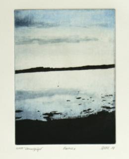 Susanne Pohl, Wasserspiegel, 2018, Aquatintaradierung, 19,7 x 14,8 cm, Exemplar 6 von 100, signiert, datiert, betitelt und nummeriert © Galerie Welz