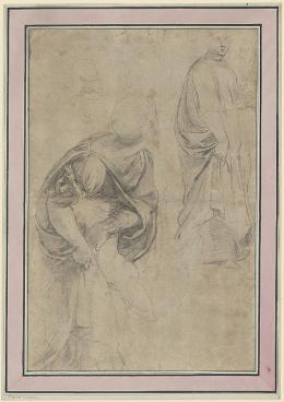 Raffaello Sanzio (genannt Raffael) Figurenstudie für die «Vertreibung Heliodors», um 1511 Schwarze Kreide über Metallgriffel- vorzeichnung auf bräunlich-grauem Papier, 40 x 26,6 cm Kunsthaus Zürich