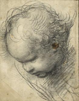 Raffael, eigentlich Raffaello Santi oder Sanzio (1483–1520), Kopf eines Cherubs, um 1509 Kohle, 298 x 234 mm © Hamburger Kunsthalle, Kupferstichkabinett / bpk Foto: Christoph Irrgang