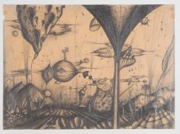 Arnulf Rainer, Das Meer, 1949/50, Grafitstift auf Transparentpapier, 44,8 x 62,3 cm, Courtesy Kunstsammlung des Landes Kärnten / MMKK, Foto: F. Neumüller © Atelier Arnulf Rainer