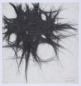 Arnulf Rainer, ohne Titel, 1954, Zeichnung in weichem Bleistift auf Wachsleinwand, 41 x 38,5 cm, Dom Museum Wien, © Atelier Arnulf Rainer