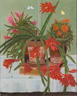 """Adolf Dietrich, """"Kakteen mit Heuschrecke"""", 1943, Öl auf Karton, Rahmen 80 x 68.3 cm,  Kunstmuseum Thurgau"""