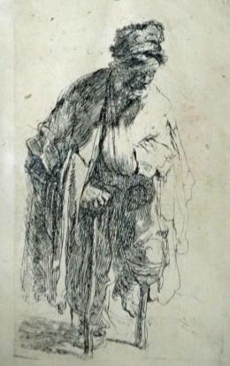 Rembrandt Hermensz van Rijn, Der Stelzfuß, um 1630, Radierung, Privatbesitz, Foto Museum Ulm