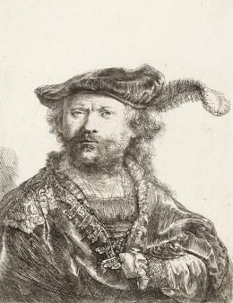 Rembrandt Harmensz. van Rijn (1606–1669): Selbstbildnis mit federgeschmücktem Samtbarett, 1638, Radierung © Kupferstichkabinett der Akademie der bildenden Künste Wien