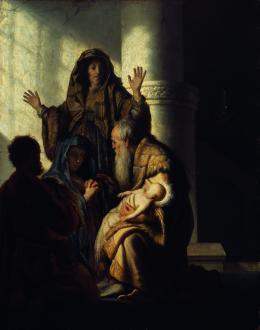 Rembrandt Harmensz. van Rijn (1606–1669) Simeon und Hanna im Tempel, 1627 Öl auf Eichenholz, 55,5 x 44 cm © Hamburger Kunsthalle / bpk Foto: Elke Walford