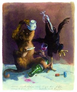 Rudi Hurzlmeier, Hans Huckebein und Fips der Affe, o.D. (c) Rudi Hurzlmeier/ Bildrecht/ Sammlung Grill