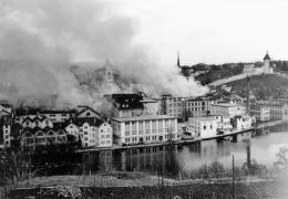 Schaffhausen kurz nach dem Bombardement, 1.4.1944. (Bild: Museum zu Allerheiligen, Stadtarchiv Schaffhausen, Bildersammlung; Foto E. Romberg, Schaffhausen)
