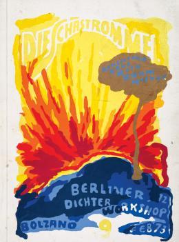 """Günter Brus, """"Schastrommel 9"""" (Titelblatt), 1973,  Siebdruck auf Kartonumschlag, 22,9 x 17 cm, Privatsammlung, Foto: Universalmuseum Joanneum/N. Lackner"""