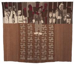 Hannah Ryggen, Drømmedød (Tod der Träume), 1936, Bildteppich aus Wolle und Leinen, 235 x 273 cm, Nordenfjeldske Kunstindustrimuseum (Nationales Museum für Kunsthandwerk und Design), Trondheim © H. Ryggen, VG Bild-Kunst, Bonn 2019, Foto: Anders Sundet Solberg