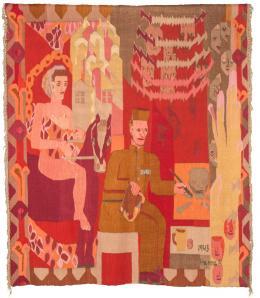 Hannah Ryggen, Grini, 1945, Bildteppich aus Wolle und Leinen, 1 / 3Bildunterschriften / Copyrights SCHIRN KUNSTHALLE FRANKFURT am Main GmbH Römerberg, D-60311 Frankfurt am Main Tel +49 69 299882-148, Fax +49 69 299882-240, E-Mail presse@schirn.de 191,5 x 168,5 cm, © Trondheim Kunstmuseum, Norwegen, VG Bild- Kunst, Bonn 2019