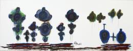 Arnold Schmidt, Menschen und Fahrrad, 2010, Acryl, Aquarellfarben, Kohle, Wachskreiden, 211 x 562 cm (c) Privatstiftung - Künstler aus Gugging