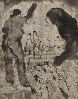 Schürch Johannes Robert 1895 - 1941, Vision 1913 - 1941. Tuschfeder und -pinsel laviert auf Velin Bündner; Kunstmuseum Chur, Dauerleihgabe Sammlung Werner Coninx