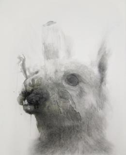 Erich Gruber - Seelfried - 2013 Farbstift, Bleistift, Tusche auf Holz 160 x 125 cm (c) Galerie Welz