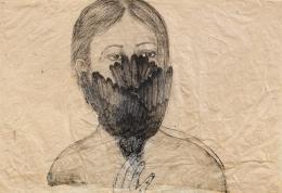 Kiki Smith, Ohne Titel (Woman with Bird), 2003, Tinte auf Papier, Donation de la Collection Florence et Daniel Guerlain, 2012 Centre Pompidou – Musée National d'Art Moderne, Paris © Kiki Smith © Adagp, Paris