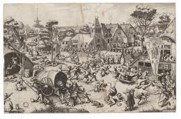 Joannes und Lucas van Doetecum nach Pieter Bruegel d. Ä. Verlegt von Hieronymus Cock Kirmes am St. Georgstag, um 1559 Radierung und Kupferstich, 33,7 × 52,8 cm Graphische Sammlung ETH Zürich © Graphische Sammlung ETH Zürich