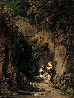 Disputierende Mönche, 1858/1860, Öl auf Leinwand, 44.5 x 34.2 cm, Museum Georg Schäfer, Schweinfurt