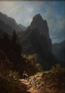 Schulkinder am Ammergauer Kofel (Die Bergschüler), um 1850, Öl auf Leinwand, 46.5 x 32 cm, Süddeutscher Privatbesitz