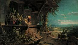 Verdächtiger Rauch (Klausner schaut ins Land), 1860/1862, Öl auf Leinwand, 31.8 x 53.8 cm, Museum Georg Schäfer, Schweinfurt