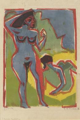Ernst Ludwig Kirchner (1880–1938) Badende Frauen (Moritzburg), 1909 Farbholzschnitt von fünf Stöcken auf Velinpapier 295 × 220 mm (Druckstock) Städel Museum, Frankfurt am Main Foto: Städel Museum