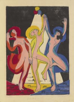 Ernst Ludwig Kirchner (1880–1938) Farbentanz, 1933 Farbholzschnitt von drei, teils zersägten Stöcken auf Japanpapier 502 × 354 mm (Druckstock) Städel Museum, Frankfurt am Main Foto: Städel Museum