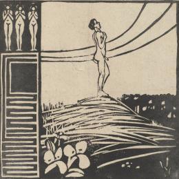 Ernst Ludwig Kirchner (1880–1938) Männliche Figur auf einem Berg (Die Sehnsucht), 1905 Aus der Folge Zwei Menschen Holzschnitt auf Vergépapier 199 × 200 mm (Druckstock) Städel Museum, Frankfurt am Main Foto: Städel Museum