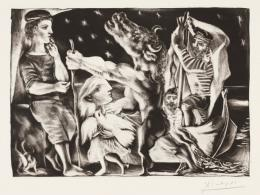 Pablo Picasso: Minotaure aveugle guidé par une Fillette dans la Nuit, 1934, Abzug 1939. Radierung und Aquatinta auf Vergépapier, 24,7 x 34,7 cm; Städel Museum, Frankfurt am Main, Graphische Sammlung. Foto: Städel Museum; © VG Bild-Kunst, Bonn 2019