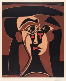 Pablo Picasso: Jacqueline au chapeau noir, 1962. Linolschnitt in vier Farben von einer Platte: Beige, Rot, Braun, Schwarz auf Velinpapier, 64,0 x 52,7 cm; Städel Museum, Frankfurt am Main, Graphische Sammlung. Foto: Städel Museum; © VG Bild-Kunst, Bonn 2019