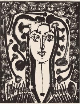 Pablo Picasso: Buste Modern Style, 1949. Pinsellithografie mit Gouache (Umdruck) auf Arches-Velinpapier, 65,5 x 49,8 cm (Blatt), 64,2 x 49,6 cm (Darstellung); Städel Museum, Frankfurt am Main, Graphische Sammlung. Foto: Städel Museum; © VG Bild-Kunst, Bonn 2019