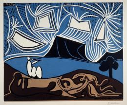 Pablo Picasso: Couple et Flûtistes au bord du Lac, 1959. Linolschnitt in fünf Farben von vier Platten: Crèmeweiß, Blau, Schwarz, Beige, Dunkelbraun auf Arches-Velinpapier 62,0 x 75,1 cm (Blatt); 52,9 x 63,6 cm (Platte); Städel Museum, Frankfurt am Main, Graphische Sammlung. Foto: Städel Museum; © VG Bild-Kunst, Bonn 2019