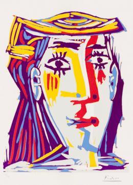 Pablo Picasso: Portrait de Jacqueline au chapeau de paille, 1962. Linolschnitt in fünf Farben von zwei Platten: Grau, Gelb, Rot, Hellblau und Violett auf Arches-Velinpapier, 62,6 x 44,4 cm (Blatt); Städel Museum, Frankfurt am Main, Graphische Sammlung. Foto: Städel Museum; © VG Bild-Kunst, Bonn 2019