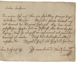 """Eintragung von Graf Ferdinand Waldstein: """"Durch ununterbrochenen Fleiß erhalten Sie: Mozart's Geist aus Haydns Händen.""""; Beethovens Stammbuch; 1792 – © Österreichische Nationalbibliothek"""