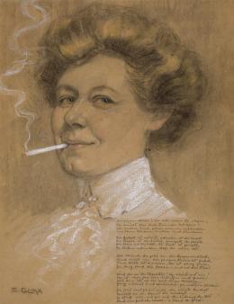 """Stephanie Glax, """"Selbstporträt"""", ca. 1908,  Bleistift und Kreide, 47,9 x 37,1 cm, Privatsammlung Ljubljana, Foto: Bojan Salaj"""