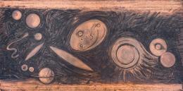"""Günter Brus, """"Stillstand der Dynamik"""" (Druckplatte), 2002,  Kupfer, 100 x 200 cm, Kurt Zein, Foto: Universalmuseum Joanneum/N. Lackner"""