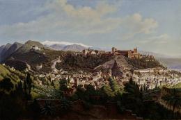 Sattler Hubert: Granada mit der Alhambra, 1867, Öl auf Leinwand (© Salzburg Museum)
