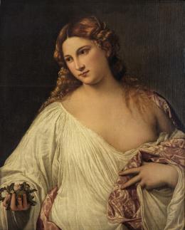 Tizian (um 1488–1576), Flora, Um 1515/17 Leinwand, 79,7 x 63,5 cm, Gallerie degli Uffizi, Florenz © Galleria delle Statue e delle Pitture degli Uffizi, su concessione del Ministero della cultura
