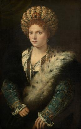 Tizian (um 1488–1576), Isabella d'Este, Markgräfin von Mantua (1474–1539), Um 1534/36 Leinwand, 102,4 × 64,7 cm, Kunsthistorisches Museum Wien, Gemäldegalerie © KHM-Museumsverband