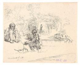 Rembrandt Harmensz. van Rijn (1606-1669), Die Badenden (De Zwemmertjes), 1651  Radierung, II. Zustand (von III), DG NL 211 Foto: Tiroler Landesmuseen